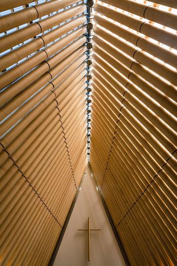 Interior shot of minimalist church building