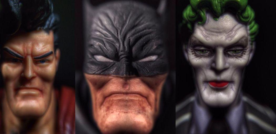 Trio. TheDarkKnightReturns Batman Superman Joker Toys Toyphotography Macro Macro Photography Toy Photography Toycommunity