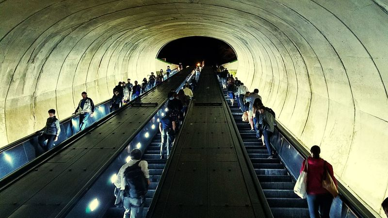 Metro Station Washington, D. C. Dupont Circle Washington DC Concrete Escalator Commuters Rush Hour Traffic After Work Heading Home Day Is Done Arch Indoors  Tunnel Architecture People Lifestyles Silhouette Mobility In Mega Cities Colour Your Horizn