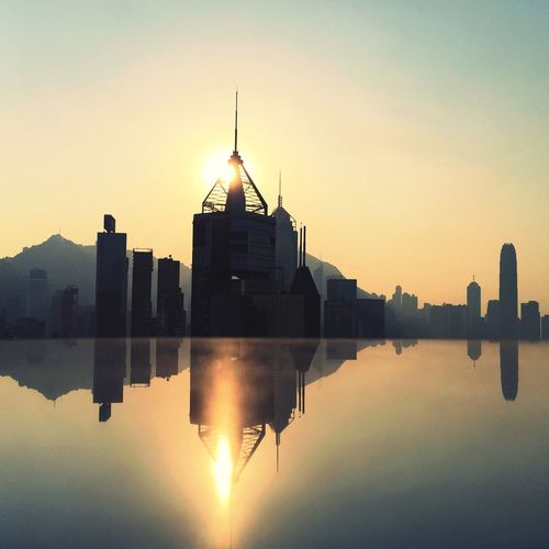 Reflection Cityscapes From My Point Of View Sunset IPhoneography Hong Kong I Love My City Perspective Sunset Silhouettes My Hong Kong IPS2015Light Skyscrapers Pmg_hok