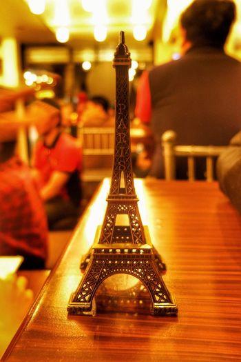 Paris Miniature Eiffel Tower Bean Voyage Coffee Time Close-up