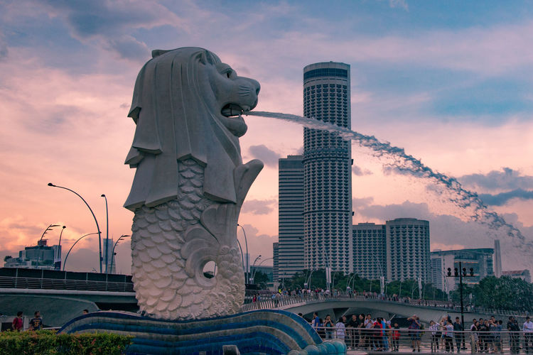 Fountain Pink Evening Merlion Singapore Shingapore シンガポール マーライオン