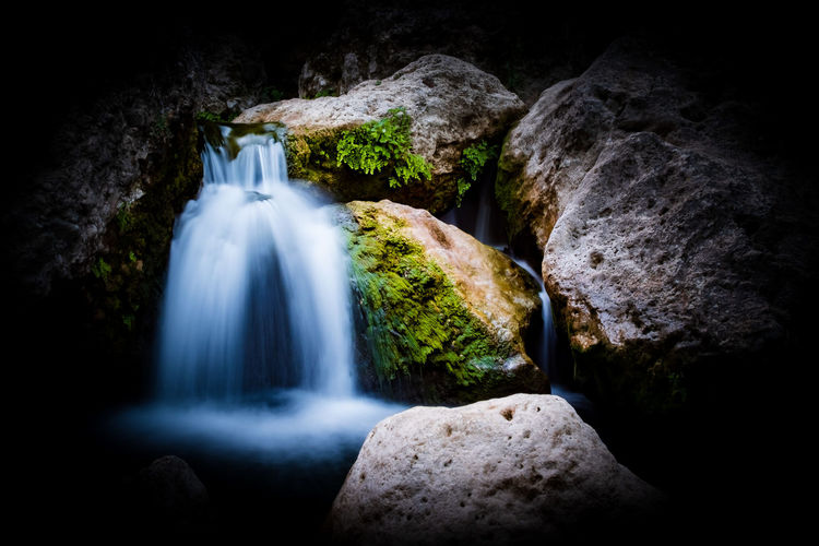 Ronda Ronda Spain Waterfall Waterfall_collection Solid Rock - Object Rock Long Exposure Motion Scenics - Nature No People Water Beauty In Nature Blurred Motion Rock Formation Nature Flowing Water Outdoors Land Moss Black Background Flowing Power In Nature Falling Water The Week on EyeEm