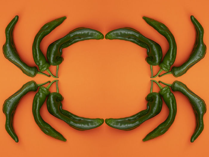 Pepper Vegetable Food Studio Shot Indoors  Healthy Eating Food And Drink Directly Above Green Color Freshness Wellbeing Close-up Chili Pepper Spice No People Arrangement Colored Background Still Life Orange Color Organic Red Chili Pepper