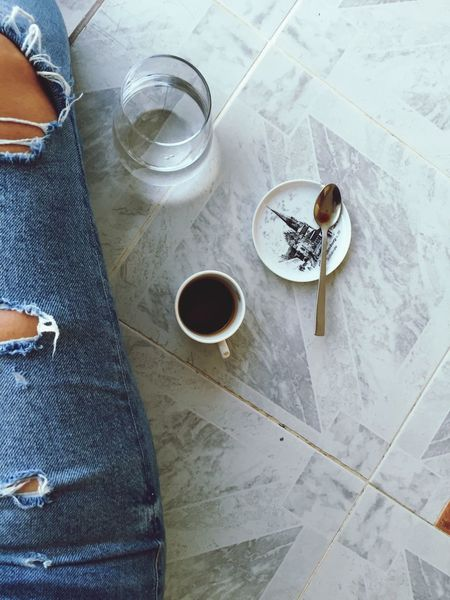 Coffee High Angle View Drink Refreshment Food And Drink Cup Coffee Cup Coffee Coffee - Drink Mug Indoors  Table Directly Above Flooring Day Still Life Food Freshness Glass Human Leg Low Section