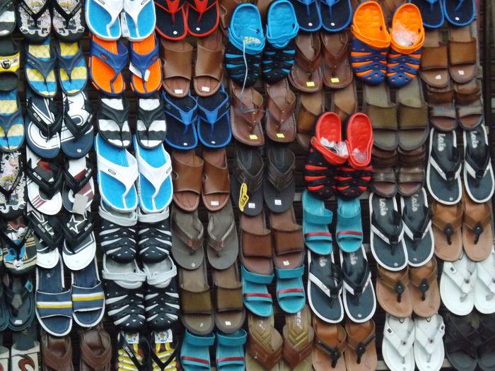 Full Frame Shot Of Colorful Sandals For Sale At Market