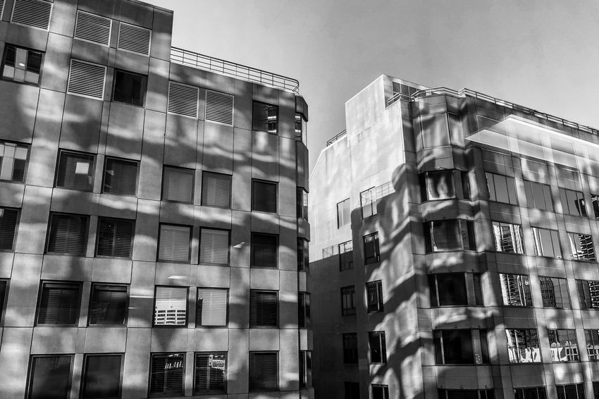 The building blocks Monochrome Light And Shadow Black And White Building Exterior Built Structure Architecture Building Low Angle View City No People Sky Day Window Outdoors Clear Sky Sunlight The Architect - 2018 EyeEm Awards