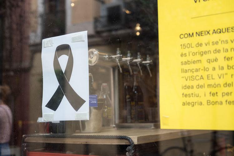 Barcelona Barcelona, Spain City Fear National Public Transportation Ribbon Black Black Ribbon Mouring Street Terror Terrorism Terrorist Attack