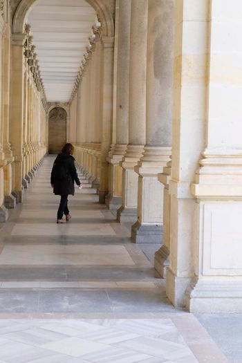 Architecture Architectural Column Built Structure Walking One Person Arcade Building Full Length Arch Corridor The Way Forward Direction Real People Rear View Indoors  In A Row History The Past Day Colonnade
