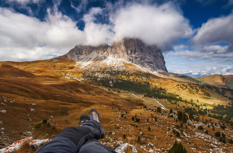 The beauty of Dolomite Mountains in autumn. Italy - Europe. Adventure Alpine Alps Autumn Beautiful Nature Beauty Beauty In Nature Dolomite Dolomites Europe Hiking Italy Landscape Legs Mountain National Park Nature Outdoor Personal Perspective Shoe Sky Tourism Travel Travel Destinations Vacations