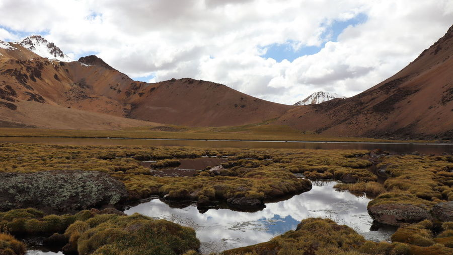 Atmospheric shot of high altitude lake surrounded by volcanic landscape