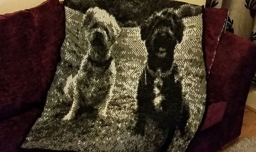 A knitted photograph! Another hobby of mine! Knitting Blanket Knitted Photography Knitted Photography Photography Fabric Fabric