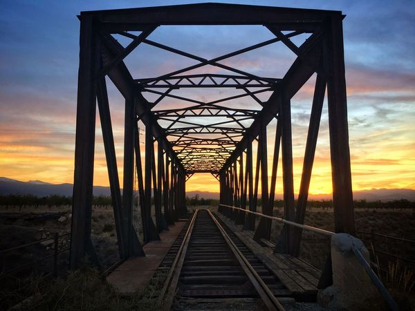 Bridge - Man Made Structure Metal Sunset Railway Bridge Outdoors Sky Railroad Bridge No People Day Architecture Nature