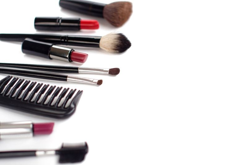 Makeup brushes and lipsticks on white background Red Lipstick Lipstick Copy Space White Background Makeupartist Brushes Make-up Make-up Brush White Background No People Copy Space Close-up Studio Shot Beauty Product Beauty Cut Out Red Fashion Body Care And Beauty
