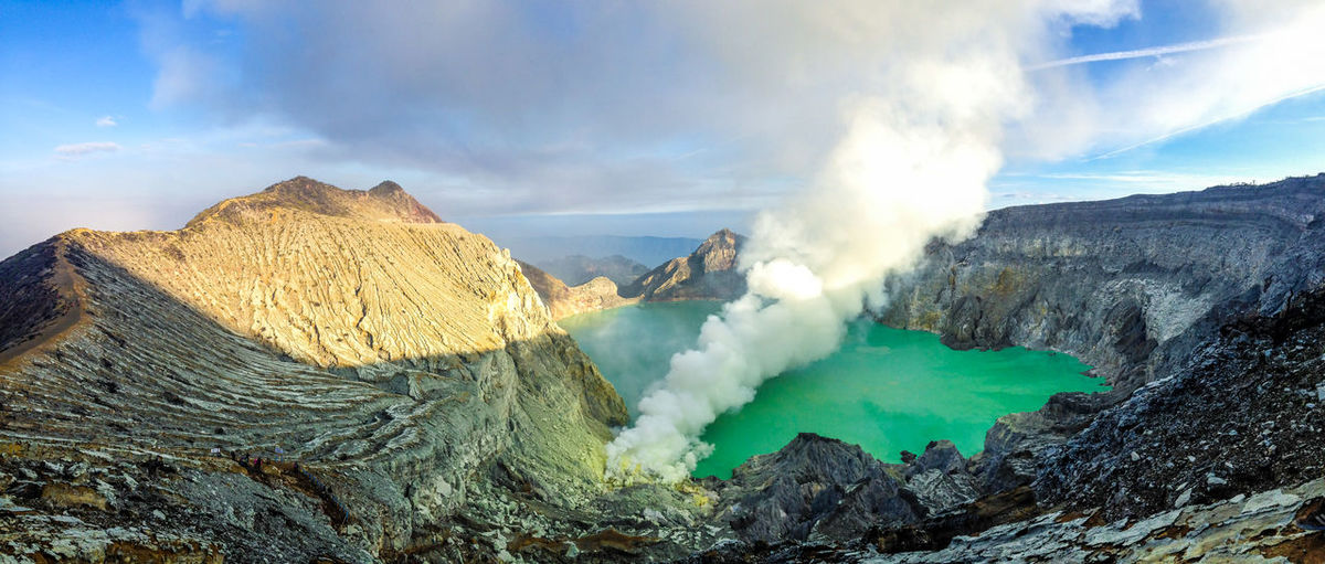 High Angle View Of Hot Spring Amidst Mountains Against Cloudy Sky