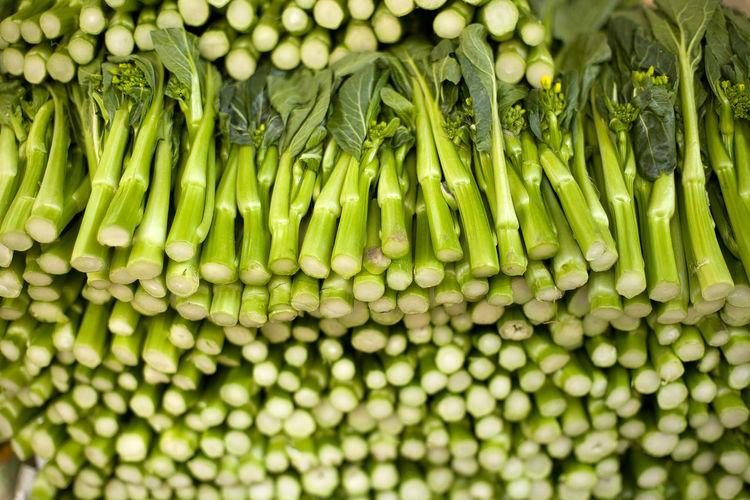 Full frame shot of green beans in market