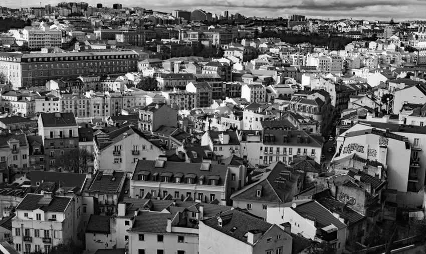 High angle shot of townscape of lisbon