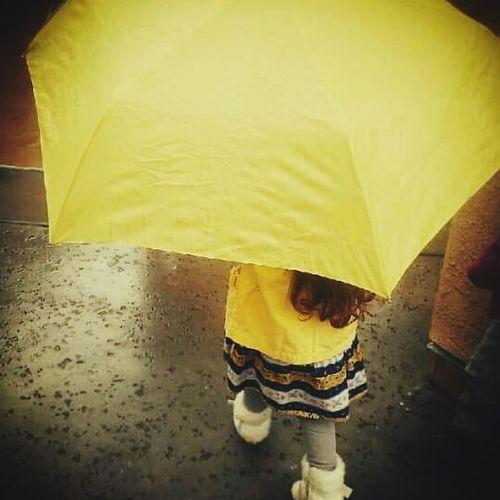 Yellow One Person Rainy Day Yellow Umbrela Rainy Morning Neon Life