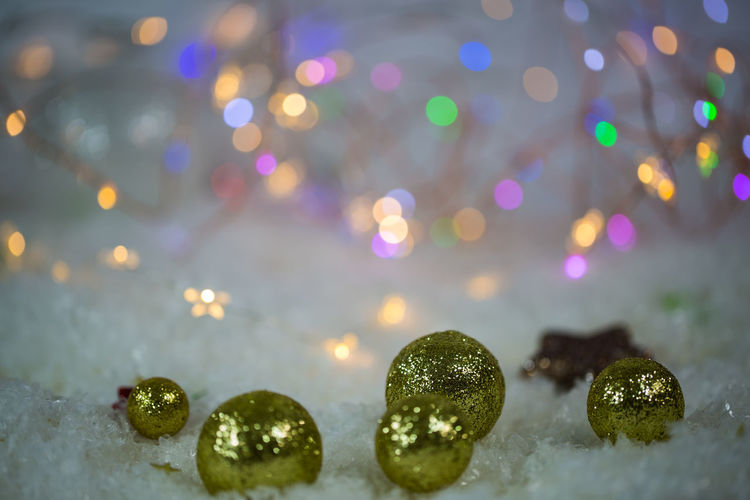 Christmas Balls Christmas Background Close-up Illuminated Light, Glitter, Background Nature Night No People Outdoors