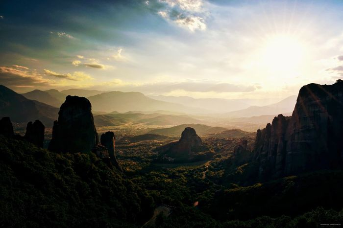 Meteora Meteora Greece Meteora Monasteries METEORA, GREECE Orthodox Landscape Sunset Sun Sunlight Sunlight And Shadow Mountain Sky Skyandclouds  Sky And Clouds Clouds Forest Nature Nature Photography Naturelovers Summer Greek Summer VisitGreece EyeEm Nature Lover Kalampáka Natural History