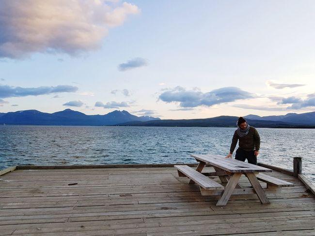 Water Nautical Vessel Mountain Sea Full Length Men Beach Standing Fisherman Wood - Material