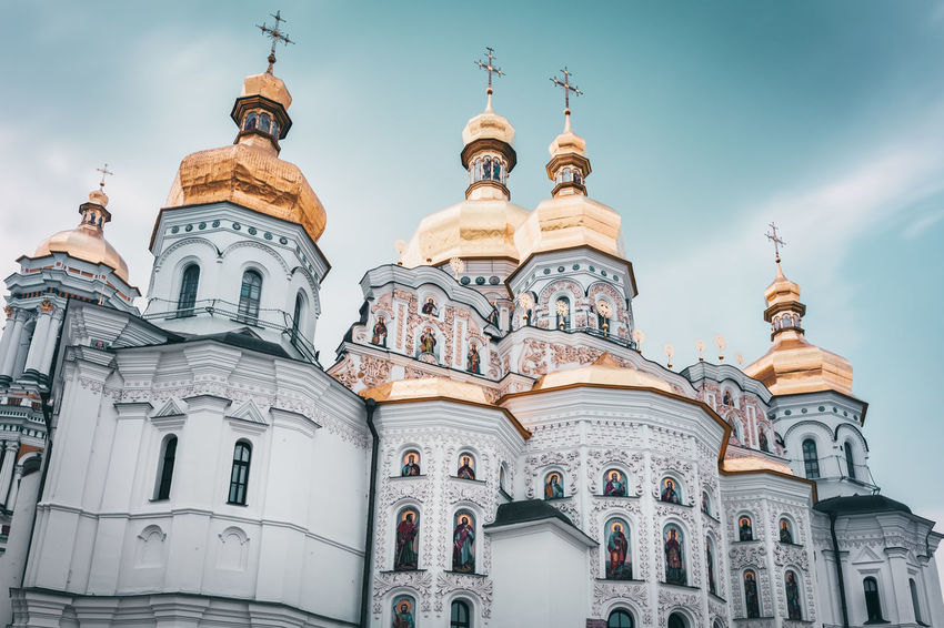 Cathedral of the Dormition | Kiev, Ukraine 2016 Orthodox Christian Monastery Architectural Feature Architecture Blue Capital Cities  Cathedral Cathedral Of The Dormition Christianity Church Day Dome Façade Kiev Kiev Monastery Of The Caves Kiev Pechersk Lavra Low Angle View PaintthetownyellowOrthodox Place Of Worship Religion Sky Spirituality Tourism Travel Destinations Ukraine