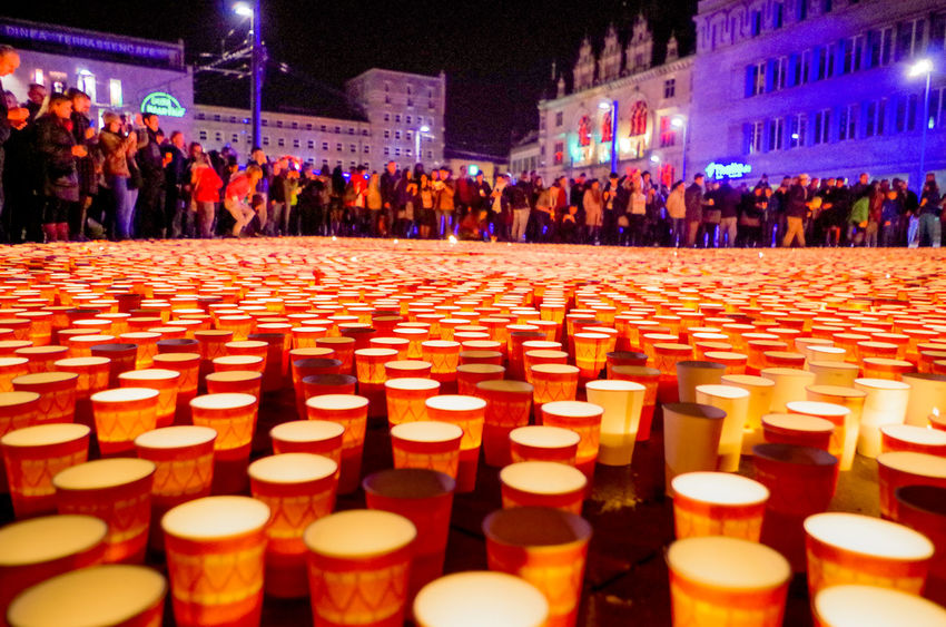 Candle Celebration City Halle (Saale) Large Group Of People Lichterfest Night Peaceful People Real People