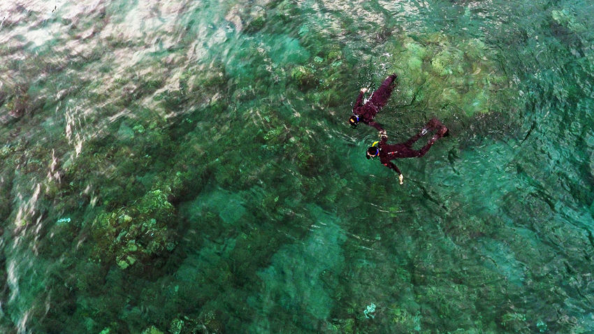 Adventure Aerial Shot Aerial View Couple Day Drone  Dronephotography High Angle View Leisure Activity Nature Outdoors People Real People Snorkeling UnderSea Water A Bird's Eye View Flying High Islands Done That.