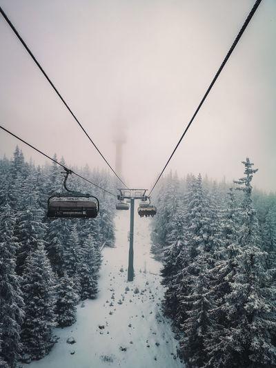 Ski lift over snow covered land against sky