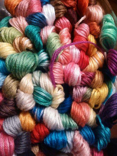 Multi Colored Thread Variation Embroidery Macrame Handcraft No People Handmade Hobbycraft