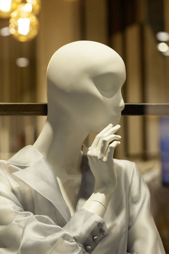 Close-up of female mannequin in store