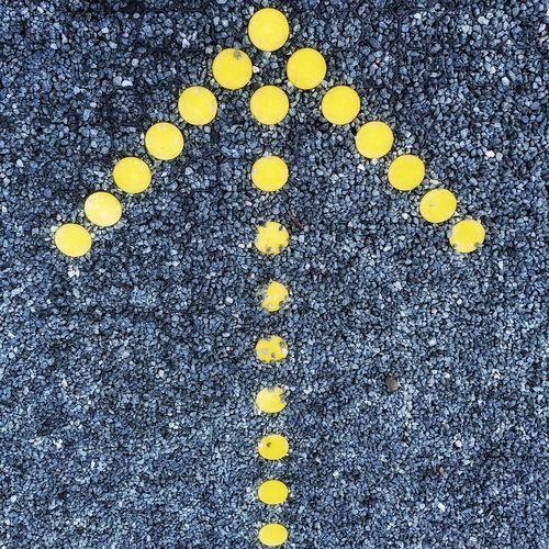 Arrow Yellow Arrow Up Arrow Ahead Straight On Gravel Sign Direction Direction Sign