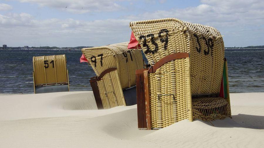 beach chair Strandkorb Strandkörbe Ostsee Ostseeküste Laboe Germany Schleswig-Holstein Kieler Förde Travel Traveling Holiday Summer Spring Eye4photography  Photooftheday The Week Of Eyeem EyeEm Gallery Strand Beach Beach Chairs Wind Storm The Essence Of Summer