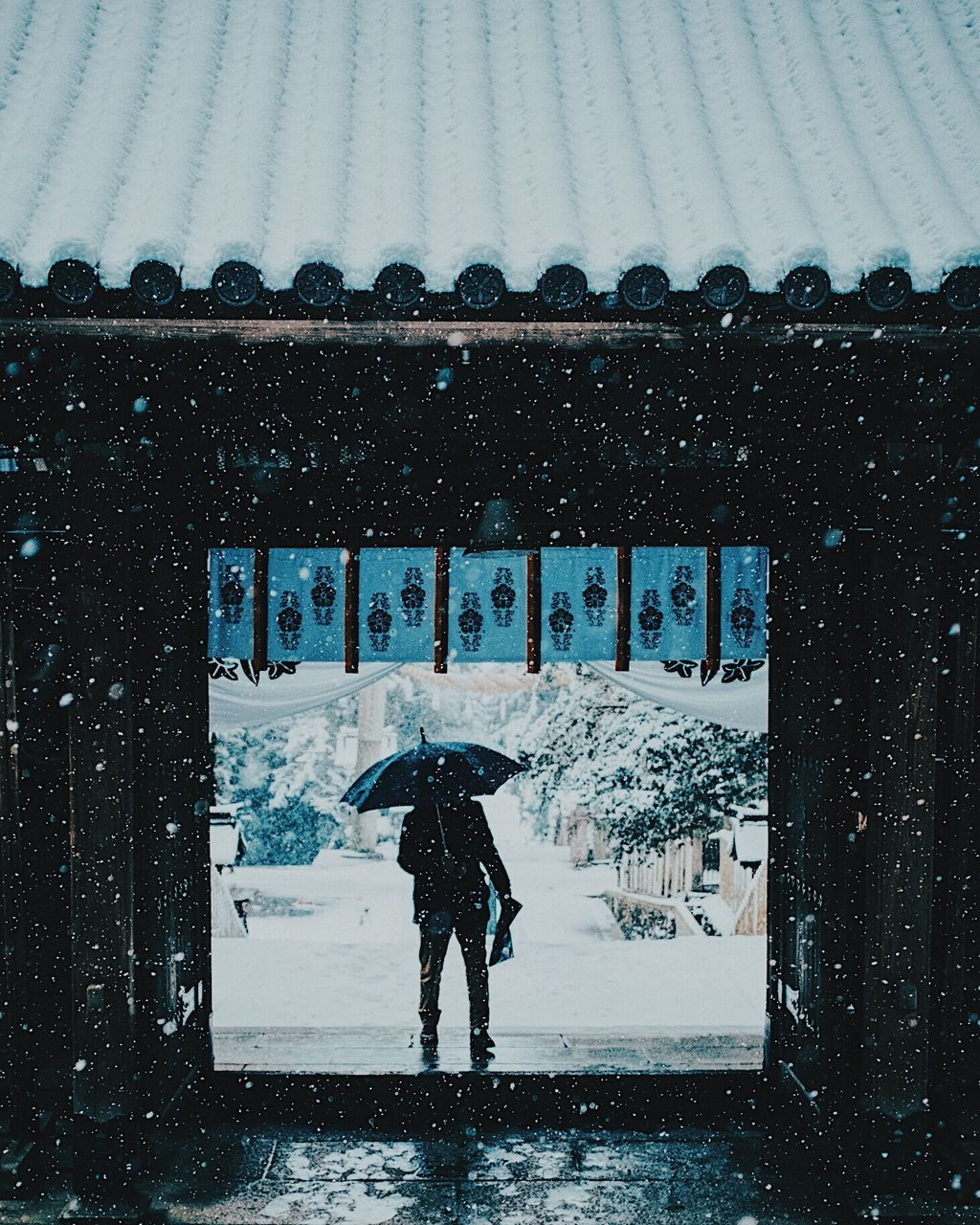 weather, winter, snow, cold temperature, rain, snowing, wet, real people, protection, outdoors, nature, day, built structure, water, architecture, one person, warm clothing, full length, building exterior, beauty in nature, under, people