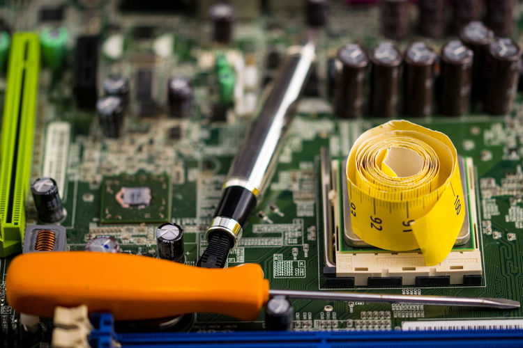 Close-up of objects on circuit board