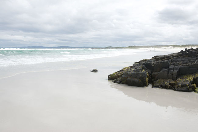 Bay Of Fires Beach Beauty In Nature Cloud Kuomi Collection Cloudy Coastline Day Horizon Over Water Idyllic Landscape Nature Overcast Quiet Moments Quiet Places Rock - Object Scenics Sea Shore Sky Tasmania Tranquil Scene Tranquility Water Weather