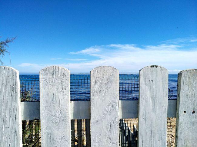 Blue Sky Staccionata Puglia South Italy Sea Veiw Water Sea Beach Blue Sand Sky Close-up Cloud - Sky