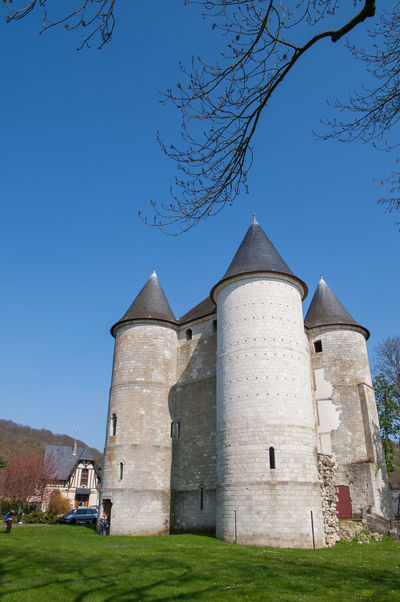 The Beautiful And Historical Tourelles Castle Which Built In 1196 By Philippe Augustus. It Was A Bridgehead Meant To Defend The Town Of Vernon Located On The Border Of The Duchy Of Normandy. Architecture Blue Building Exterior Built Structure Clear Sky Day France Giverny Low Angle View Nature No People Outdoors Paris Place Of Worship Religion Sky Tree Vernon