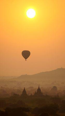 Adventure Atmospheric Mood Bagan Balloons Over Pagodas In Bagan Clear Sky Flying Foggy Hot Air Balloon Myanmar Pagodas Sunrise Temple