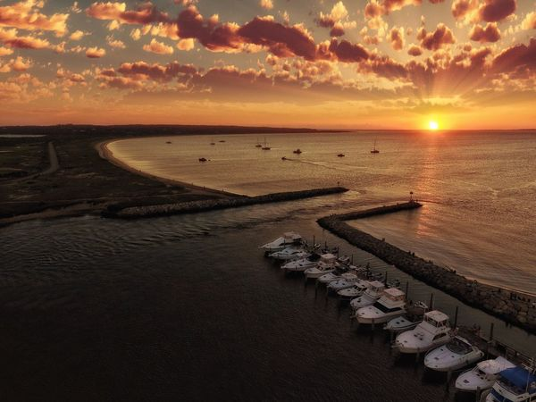 A Bird's Eye View Menemsha Sunset Sunset Tranquil Scene Horizon Over Water Tranquility Martha's Vineyard Nature Landscape