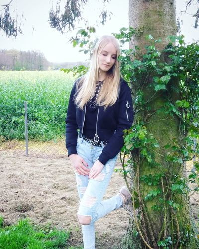 Nature Beauty In Nature Landscape Blond Hair Long Hair One Person Front View Casual Clothing Young Adult Young Women Only Women One Woman Only One Young Woman Only Day Standing People Outdoors Tree Green Color Nature Adult Adults Only Human Body Part