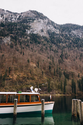 Electronic boats servicing the lake königssee, bavaria, germany.