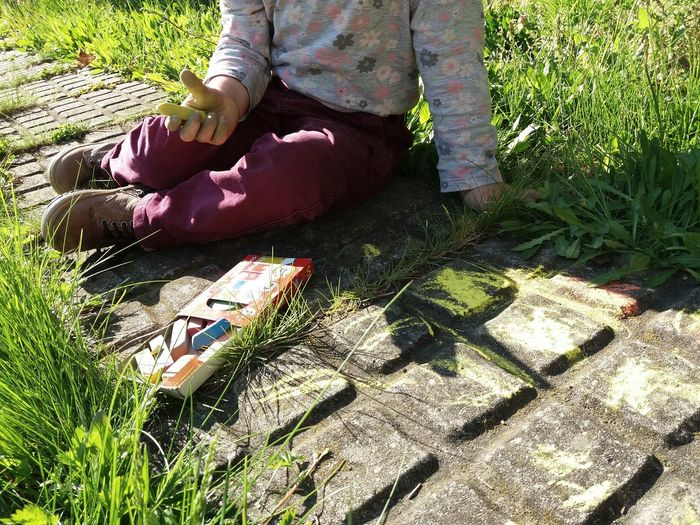 Low Section Human Legs Sunlight Day No Head Outdoors Real People One Person Grass Sitting Nature Barefoot Shadow Little Girl Chalk Art Chalk Drawing Chalk Chalkboard Chalkpastel Art, Drawing, Creativity Art Is Everywhere Arte Little Artist Sitting On The Ground Colorful