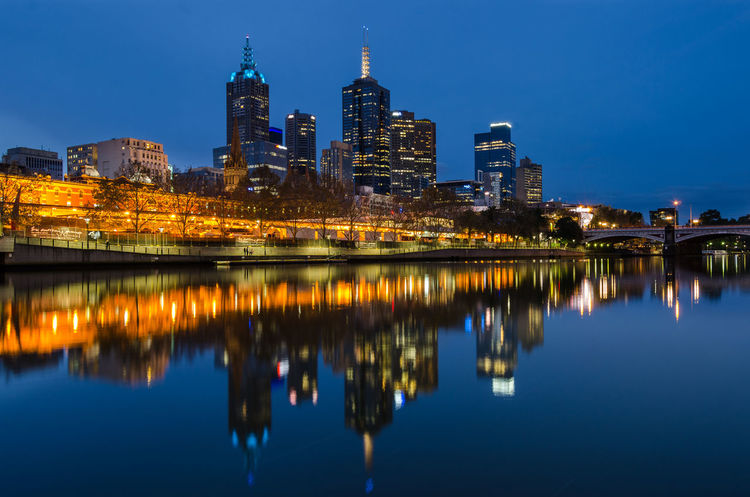 Melbourne reflected on the yarra Architecture City City Life Cityscape Horizontal Symmetry Illuminated Melbourne River River Yarra Skyline Skyscraper Symmetry Waterfront