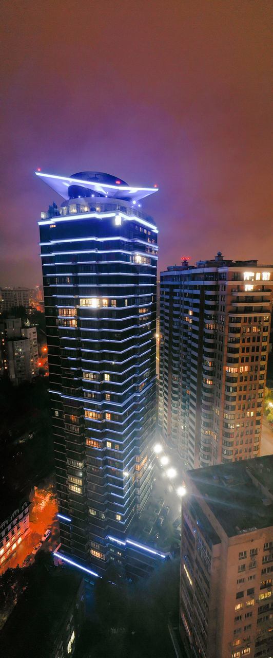building exterior, city, architecture, built structure, building, illuminated, sky, cityscape, night, office building exterior, cloud - sky, no people, nature, modern, skyscraper, office, outdoors, tall - high, residential district, high angle view, financial district
