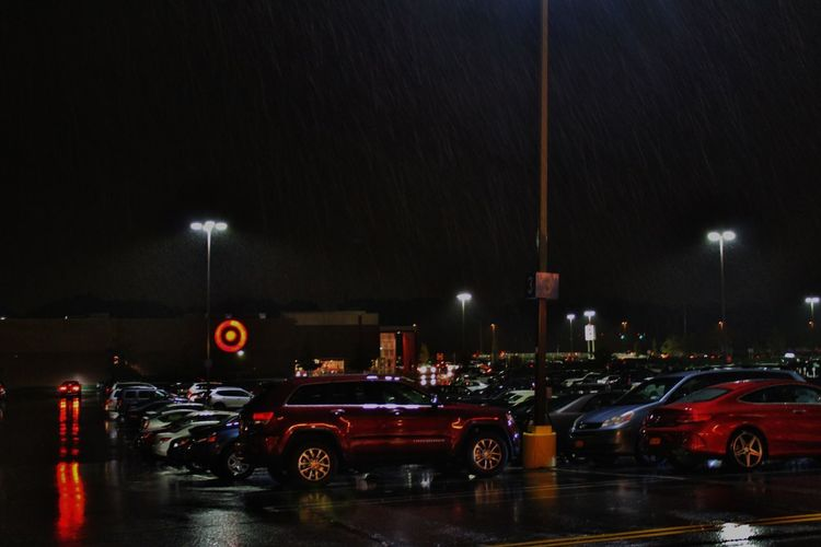 Finding a spot Rain Lights Vehicles Shine Mall Parking Lot Wheels Night Car Red City Water Outdoors Illuminated No People Mobility In Mega Cities