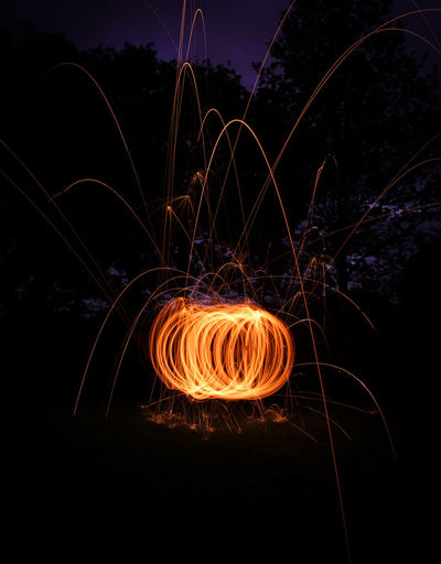 Circle Dark Exploding Firework Illuminated Light Light Painting Light Trail Long Exposure Night Sparks