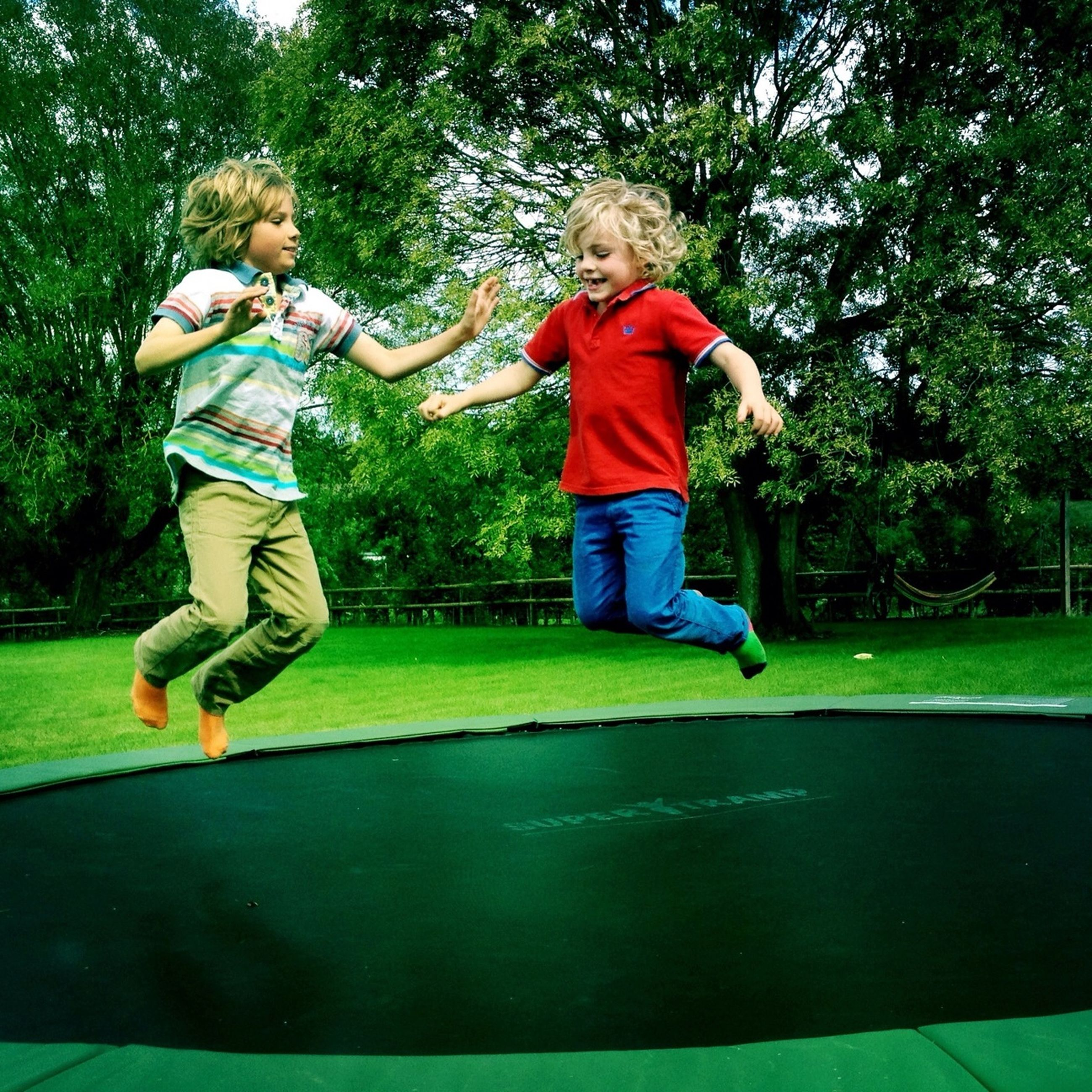 childhood, full length, elementary age, park - man made space, boys, tree, leisure activity, person, casual clothing, girls, lifestyles, playing, grass, fun, innocence, enjoyment, park, playground