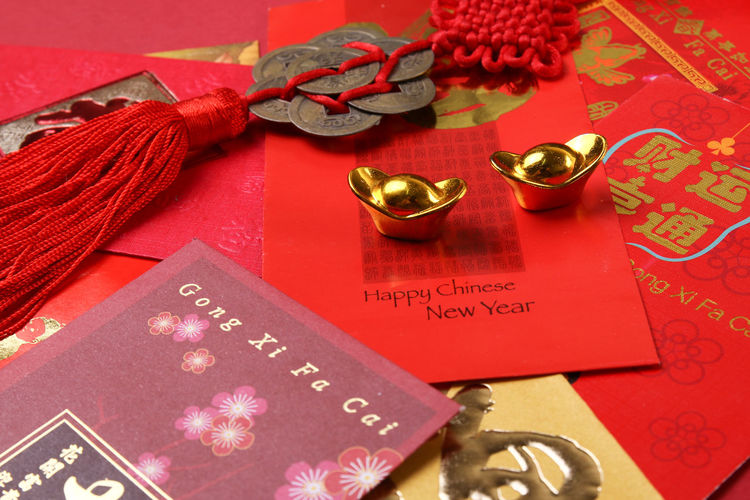Chinese new year angpow red packets with gold ingots 2018 Red Angpow Astrology Chinese New Year Decorations Envelopes Ingots Packets Zodiac