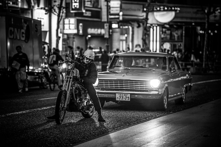 """""""Easy Rider"""" Architecture building exterior built structure car chopper City illuminated land vehicle men mode of transport Motorcycle night outdoors people real people Road street streetphotography The Street Photographer - 2017 EyeEm Awards Transp Mobility In Mega Cities Architecture Building Exterior Built Structure Car Chopper City Illuminated Land Vehicle Men Mode Of Transport Motorcycle Night Outdoors People Real People Road Street Streetphotography The Street Photographer - 2017 EyeEm Awards Transportation EyeEm Selects Stories From The City The Street Photographer - 2018 EyeEm Awards My Best Photo The Art Of Street Photography"""